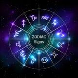 Zodiakcirkel med astrologiska symboler vektor illustrationer