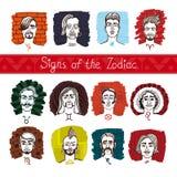 Zodiaken i personer royaltyfri illustrationer