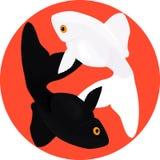 ZodiakFiskarna Fisk två, symbol av yin och yang Arkivbild