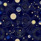 Zodiakhimmel Abstrakt sömlös vektormodell med konstellationer Arkivbilder