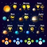 ZodiakInfographics uppsättning royaltyfri illustrationer