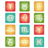 Zodiakknappar vektor illustrationer