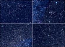 Zodiakkonstellationer Aries Taurus Gemini Cancer arkivfoto