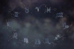 Zodiakkonstellationer Fisk för två tecknad film Tecken av zodiac Arkivbild