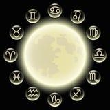 Zodiaksymboler i cirkel på fullmånen royaltyfri illustrationer