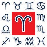 Zodiaksymboler som dras med en kulspetspenna Arkivbilder