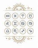 Zodiaksymbolssamling Sakral symboluppsättning Beståndsdelar för tappningstildesign Royaltyfri Foto