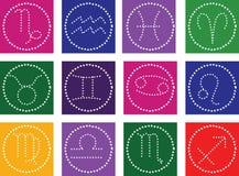 Zodiaksymbolsymboler på färgbakgrund Royaltyfria Bilder