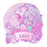 Zodiaktecken av Lejonet med dekorativa rosor för en ram Arkivbild