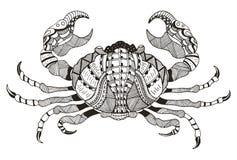 Zodiaktecken - cancer också vektor för coreldrawillustration Krabba Zentangle nålar stock illustrationer