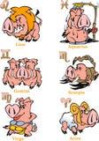 Zodiaktecken för det astrologiska horoskopet stock illustrationer