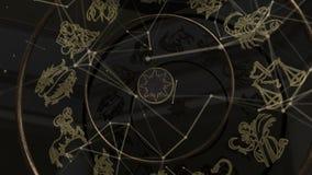 Zodiaktecken inom ett guld- hjul med plexusen lager videofilmer