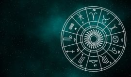 Zodiaktecken och bakgrund för galaxillustrationdesign Arkivfoto