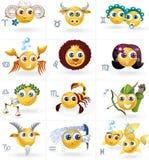 Zodiaktecken - symboler Smiley Figures - vektoruppsättning Arkivbilder