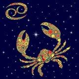 Zodiakteckencancer med nyanserade blommor fyller över stjärnklar himmel Arkivbilder
