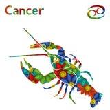 Zodiakteckencancer med stiliserade blommor Arkivbild