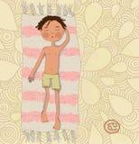 Zodiakteckencancer. Pojken solbadar på den matta epsen 10 Arkivbild