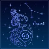 Zodiakteckencancer som en härlig flicka Konstellationen av cancer sky för natt för abstraktionillustrationblixt horoskop grensle  stock illustrationer