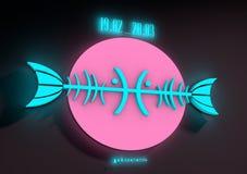 ZodiakteckenFiskarna på en mörk bakgrund Neonsken Arkivbilder