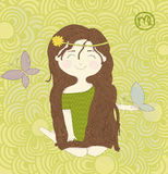 ZodiakteckenJungfru. Gulligt liten flickasammanträde på Royaltyfria Bilder
