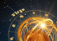 ZodiakteckenJungfru och Armillary sfär på blå bakgrund Royaltyfri Foto