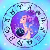 ZodiakteckenSkorpion en härlig flicka horoskop grensle vektor stock illustrationer