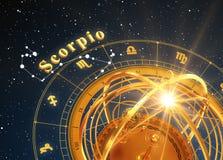 ZodiakteckenSkorpion och Armillary sfär på blå bakgrund Arkivbild
