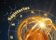 ZodiakteckenSkytten och Armillary sfär på blå bakgrund Arkivbild
