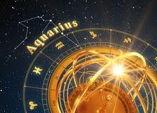 ZodiakteckenVattumannen och Armillary sfär på blå bakgrund Arkivfoton