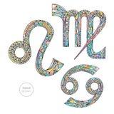 Zodiaktecknet ställde in lejonet, cancer, Jungfru Samling för pastellfärgade färger för horoskop vektor illustrationer