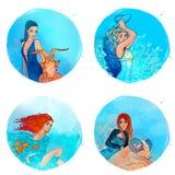 Zodiaque : Capricorne, Verseau, Poissons, Bélier Image stock