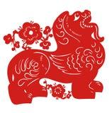 zodiaque chinois de lion illustration libre de droits