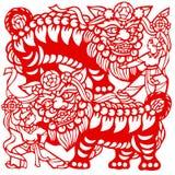 zodiaque chinois de lions illustration libre de droits