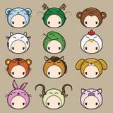 Zodiaque chinois. Ensemble d'icône de 12 animaux. illustration de vecteur