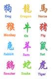Zodiaque chinois Pen Shading Colored Design Set de calligraphie Photographie stock