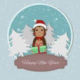 Zodiaque chinois - singes Symbole de la nouvelle année 2016 Singe dans le chapeau de Santa Photographie stock libre de droits