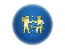 zodiaque d'or de signe de Gémeaux Illustration de Vecteur