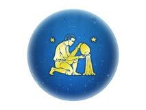 zodiaque d'or de signe de Verseau Illustration Stock