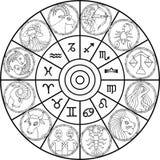 zodiaque d'horloge illustration stock