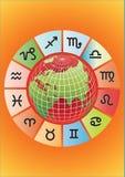 Zodiaque de vecteur avec le globe Image stock