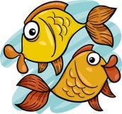 Zodiaque Poissons ou bande dessinée de poissons Photographie stock libre de droits