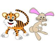 zodiaque réglé de tigre de lapin de 2 Chinois Photographie stock libre de droits