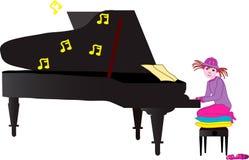 Zoe jouant le piano Photos libres de droits