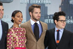 ZOE SALDANA, CHRIS PINE, J.J. ABRAMS Royalty Free Stock Photo