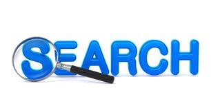 Zoek - Blauw 3D Word door een Vergrootglas. Stock Foto's
