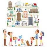 zoek een artikel in drie-generatie familie royalty-vrije illustratie