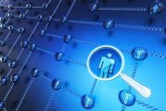 Zoek naar een persoon in een sociaal netwerk vector illustratie
