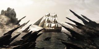 Zoek naar schedeleiland Piraat of koopvaardij varend schip die naar een geheimzinnig mistige schedel gevormd eiland varen royalty-vrije illustratie