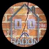 Zoekend radongas in onze huizen - conceptenillustratie met beeldzoeker op voorgrond vector illustratie