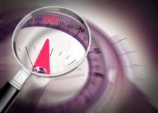Zoekend uw richting - conceptenbeeld met kompas stock fotografie